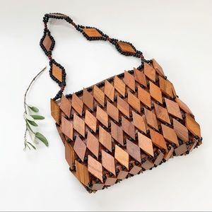 Vintage Rare Wooden Boho Hand Made Handbag